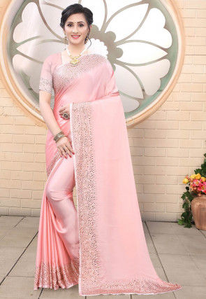 Embellished Satin Saree in Baby Pink