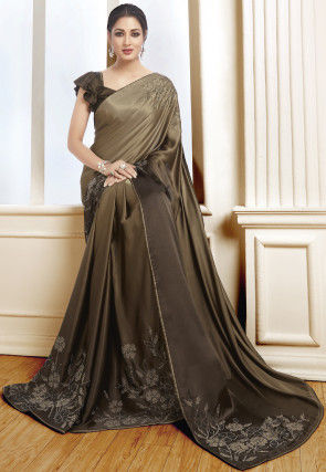 Embellished Satin Saree in Brown Ombre