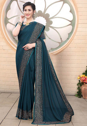 Embellished Satin Saree in Dark Teal Blue