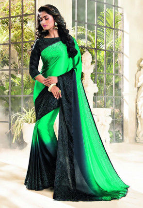 Embellished Satin Saree in Green and Black Ombre