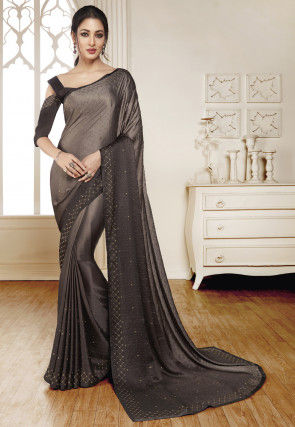 Embellished Satin Saree in Grey Ombre