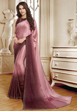 Embellished Satin Saree in Light Pink and Wine Ombre