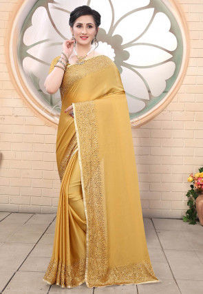 Embellished Satin Saree in Mustard
