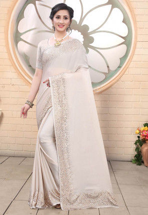 Embellished Satin Saree in Off White