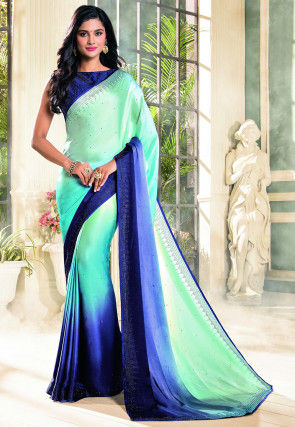 Embellished Satin Saree in Sea Green and Blue Ombre