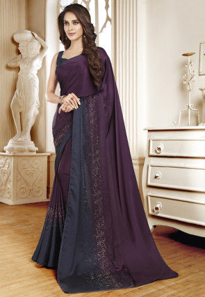 Embellished Satin Saree in Wine