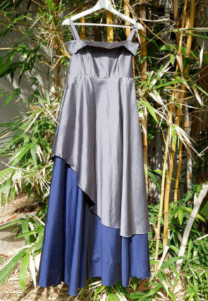 Embellished Satin Silk Layered Kids Gown in Grey and Blue