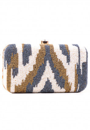 Embellished Synthetic Rectangular Box Clutch Bag in Multicolor