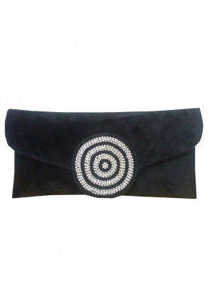 Embellished Velvet Clutch Bag in Black