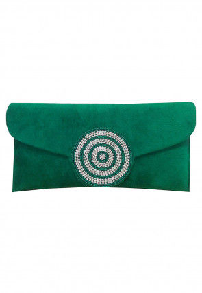 Embellished Velvet Clutch Bag in Green
