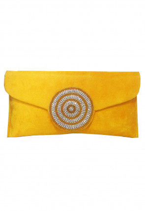 Embellished Velvet Clutch Bag in Yellow