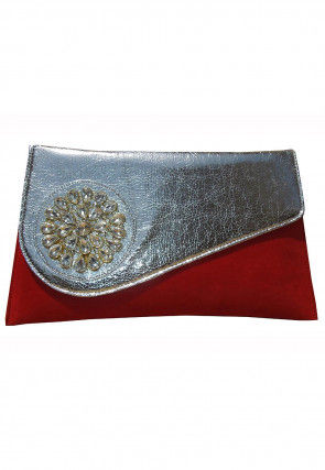 Embellished Velvet Envelope Clutch Bag in Maroon and Silver