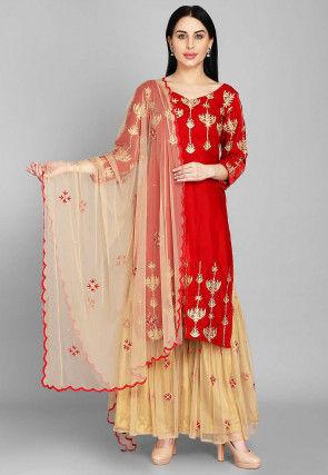 Embellished Velvet Pakistani Suit in Red