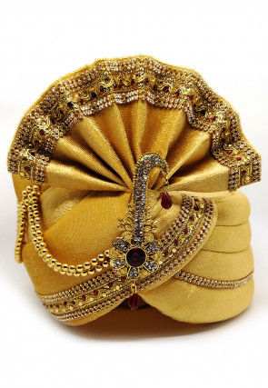 Embellished Velvet Turban in Beige