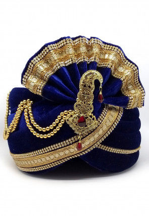 Embellished Velvet Turban in Dark Blue