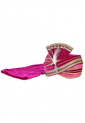 Embellished Velvet Turban in Fuchsia