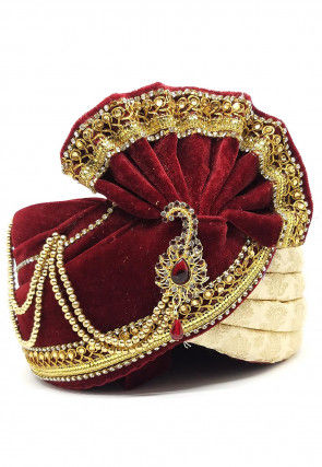 Embellished Velvet Turban in Maroon and Beige