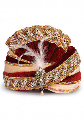 Embellished Velvet Turban in Maroon and Beige