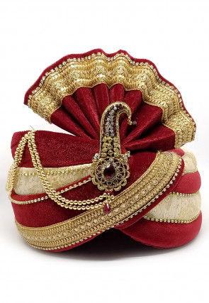 Embellished Velvet Turban in Maroon