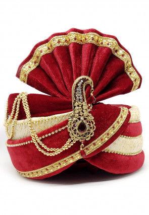 Embellished Velvet Turban in Red