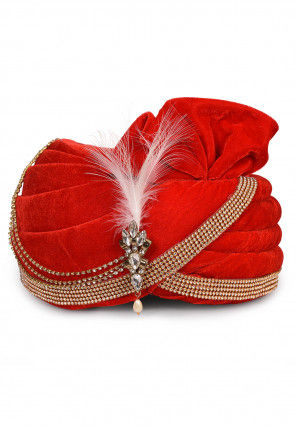 Embellished Velvet Turban in Red