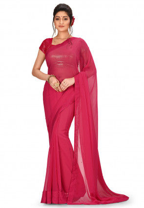 Embellished Viscose Georgette Saree in Pink