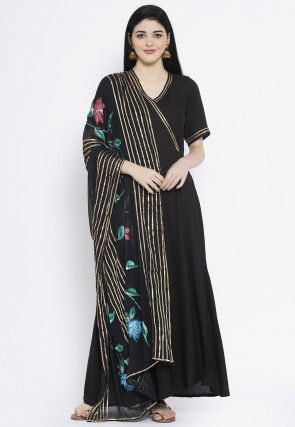 Embellished Viscose Rayon Abaya Style Suit in Black