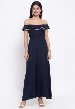 Embellished Viscose Rayon Maxi Dress in Navy Blue