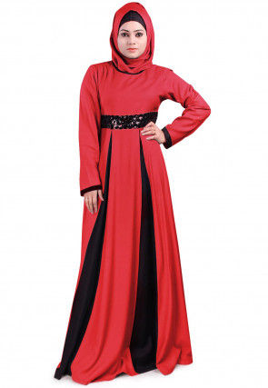 Embellished Viscose Rayon Pleated Abaya in Red and Black