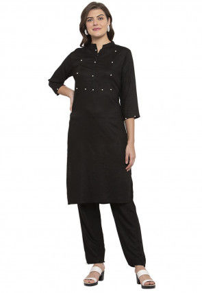Embellished Viscose Rayon Straight Kurta Set in Black