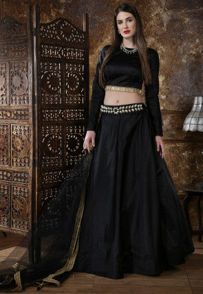 Embellished Waist Taffeta Silk Lehenga in Black