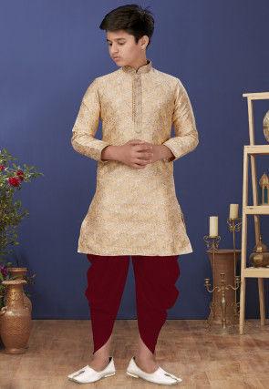 Emboidered Neckline Art Silk Jacquard Dhoti Kurta in Beige