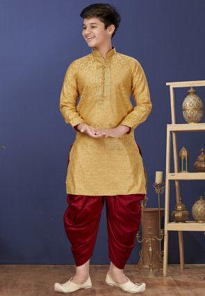 Emboidered Neckline Art Silk Jacquard Dhoti Kurta in Dark Beige
