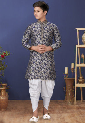 Emboidered Neckline Art Silk Jacquard Dhoti Kurta in Navy Blue