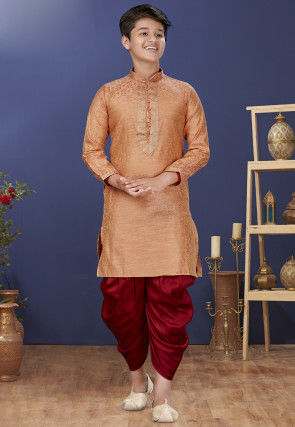 Emboidered Neckline Art Silk Jacquard Dhoti Kurta in Peach