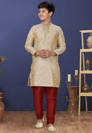 Emboidered Neckline Art Silk Jacquard Kurta Set in Beige