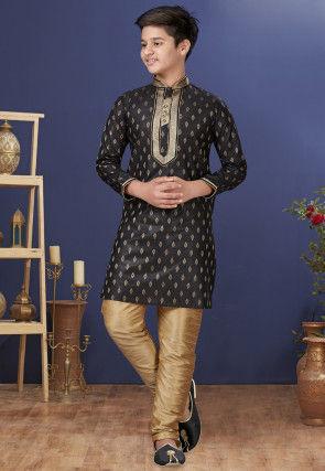 Emboidered Neckline Art Silk Jacquard Kurta Set in Black