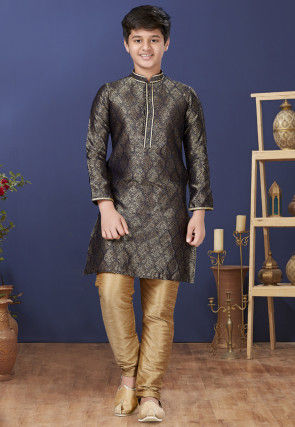 Emboidered Neckline Art Silk Jacquard Kurta Set in Charcoal Black