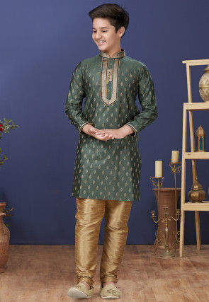 Emboidered Neckline Art Silk Jacquard Kurta Set in Dark Green
