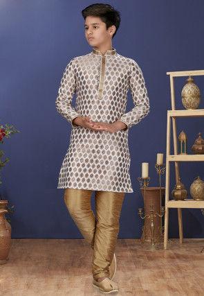Emboidered Neckline Art Silk Jacquard Kurta Set in Off White