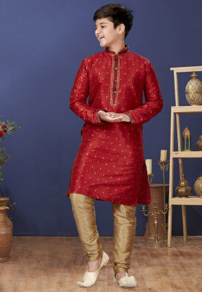 Emboidered Neckline Art Silk Jacquard Kurta Set in Red
