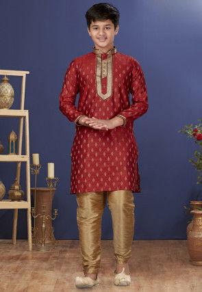 Emboidered Neckline Art Silk Jacquard Kurta Set in Red