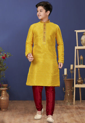 Emboidered Neckline Art Silk Jacquard Kurta Set in Yellow