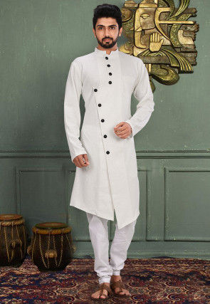 Embossed Lycra Kurta Set in White