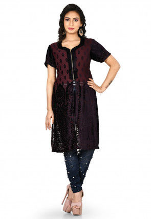 Embossed Net Brasso Kurti in Dark Brown
