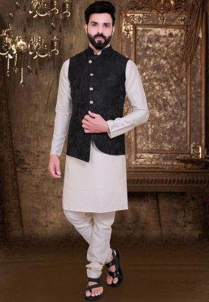 Embossed Terry Rayon Asymmetric Nehru Jacket in Black