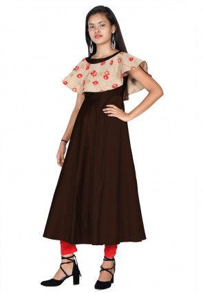 Embroide Art Silk Cape Style A Line Kurta Set in Dark Brown