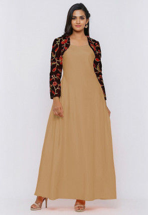 Embroide Art Silk Maxi Dress in Beige and Wine