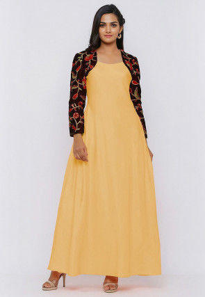 Embroide Art Silk Maxi Dress in Light Yellow and Wine