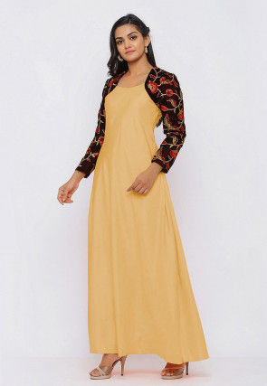 Embroide Art Silk Maxi Dress Set in Light Yellow and Wine